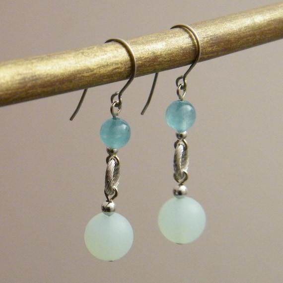 Aqua Drop Earrings - Sea Glass Jade Stone Silver Tone Beaded Earrings - Pastel Matte Light Sky Blue Aqua Petite Everyday Chic Dangle Earring