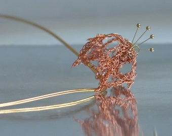 Necklace Pendant - wire crochet wearable art crocheted pure copper stylized modern 3D flower pendant on 18 inch brass collar - Mystic Garden