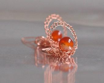 Earrings - 3D wire crochet jewelry crocheted copper with natural carnelian gemstones wearable art jewelry solar jewelry - Be My Satellite