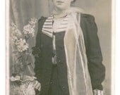 Vintage photograph - Lady with hat and scarf