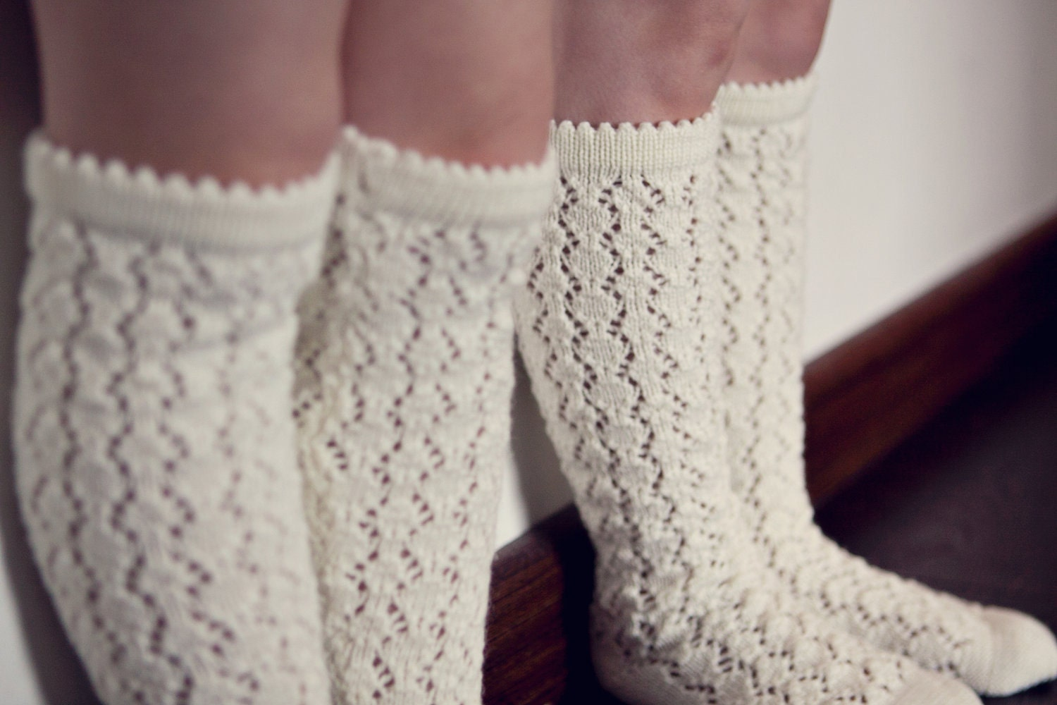 Boot Socks Knitting Pattern : BOOT SOCKS Wool socks Lace socks KNIT knee high socks leg