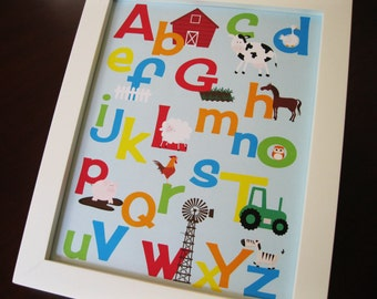 Printable Alphabet and Number Set of Two INSTANT DOWNLOAD Digital Print DIY 8 x 10  and 11 x 14 Farm Tractor