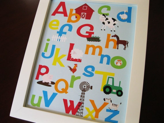 Alphabet and Number Print Set of Two 8 x 10 FARM