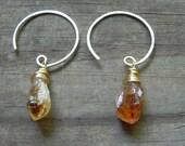 rough citrine hoop earrings, november birthstone earrings, rustic amethyst hoop earrings, February birthstone earrings