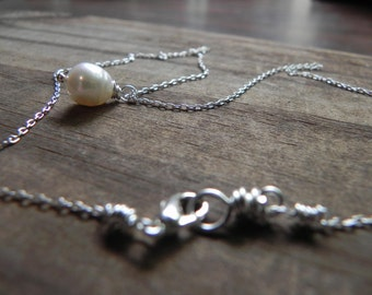 Single pearl pendant necklace, freshwater pearl necklace, simple pearl necklace, bridal necklace
