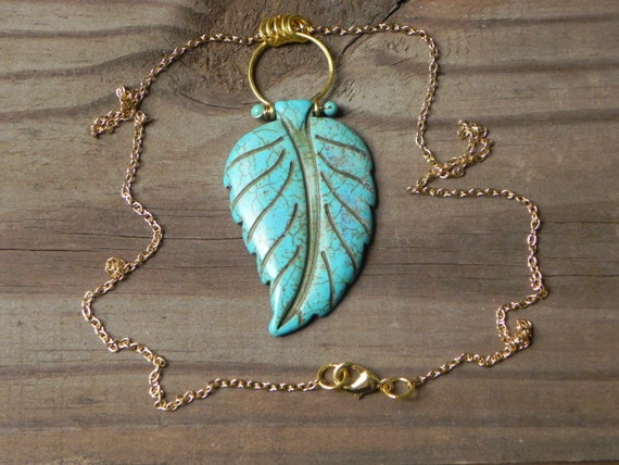 leaf necklace, stone pendant, Bohemian necklace, turquoise leaf necklace, tribal necklace, turquoise jewelry, carved stone necklace