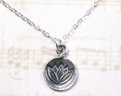 ON SALE - The Lotus Flower Pendant - Sterling Silver Dot Charm Necklace with a Water Lily - All Sterling Silver
