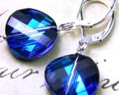 SALE - Bermuda Blue Swarovski Crystal Twist Bead Earrings - All Sterling Silver - Sterling Silver Leverbacks - Free US Shipping