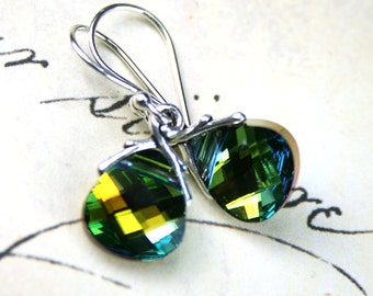 Emerald And Topaz Crystal Earrings - Green and Gold Earrings- Swarovski Crystal In Sahara With Sterling Silver Earwires