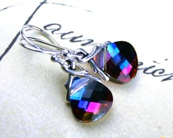 Swarovski Crystal Flat Briolette Earrings in Heliotrope - Blue, Purple, Pink - Bali Sterling Silver Earwires