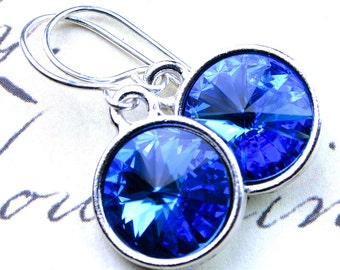 Swarovski Rivoli Crystal Earrings in Sapphire Blue -  Swarovski Crystal and Sterling Silver