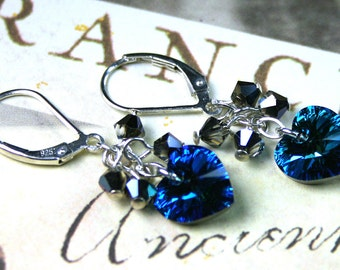 ON SALE - The Swarovski Crystal Heart Earrings in Bermuda Blue - Swarovski Crystal and All Sterling Silver - Silver Lever Backs