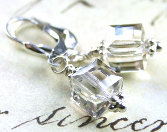 ON SALE - Crystal Cube Earrings in Crystal Silver Shade - Handmade with Sterling Silver and Swarovski Crystal - Sterling Silver Lever Backs