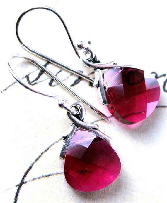 Ruby Briolette Swarovski Crystal Earrings - Ruby Red - Handmade with Swarovski Crystal and Sterling Silver