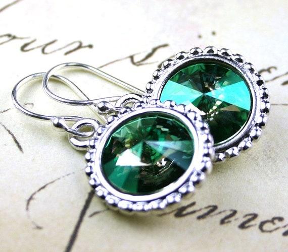 Unique Green Swarovski Rivoli Crystal Earrings - Verde Crystal Earrings - Vintage Swarovski Crystal and Sterling Silver Earwires