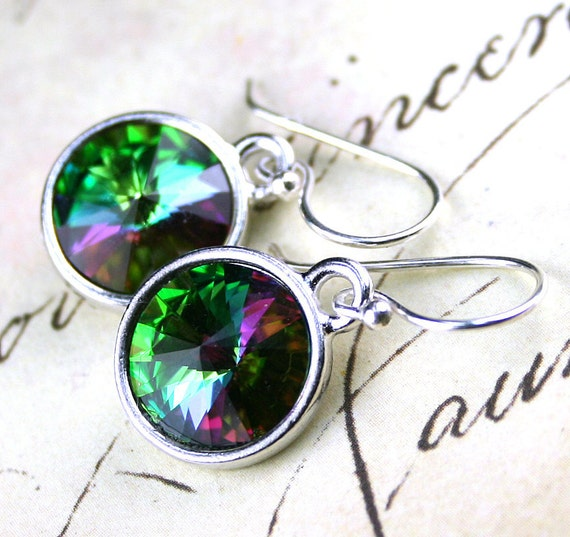 SALE- Rare Swarovski Crystal Rivoli Earrings in Electra -Green and Pink - Swarovski Crystal and Sterling Silver- Free US Shipping