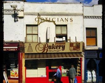 British Bakery - London Street Shop - Urban Travel Art - United Kingdom Decor - Great Britain Art - Classic Typography - Fine Art Photograph