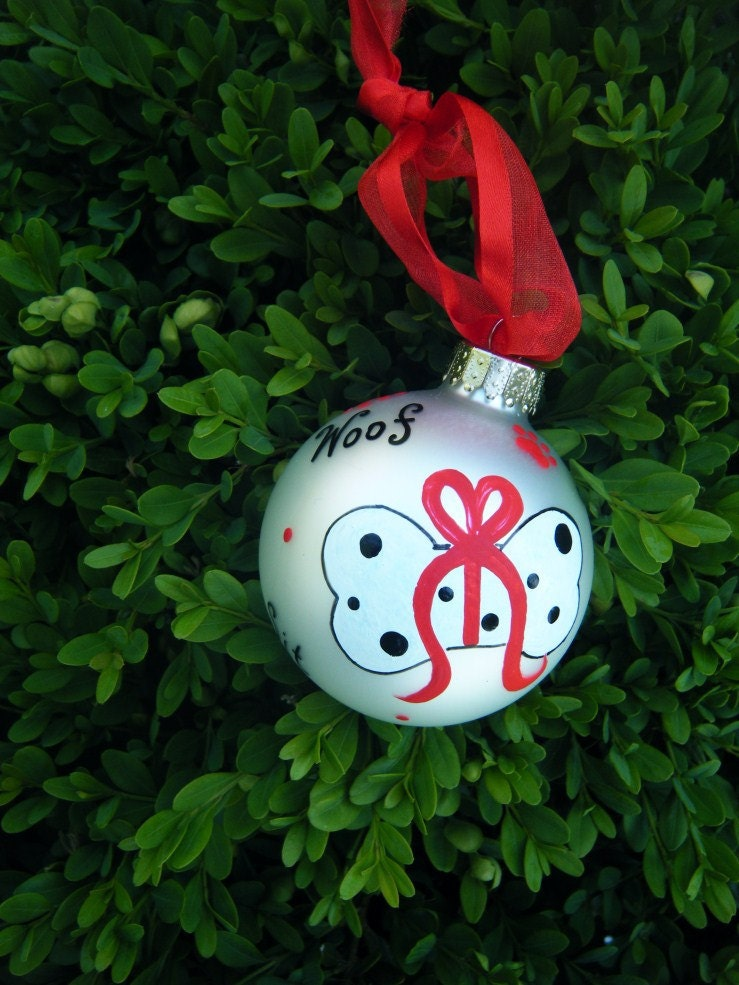 Dog bone ornament personalized hand by brushstrokeornaments for Dog bone ornaments craft