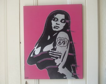 Painting,route 69,silver woman ,stencil art,canvas,spray paints,tattoo,pink,black,hand crafted,urban,pop art,wall art,gift,europe,homewares,