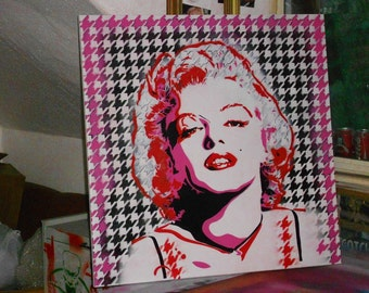 Marilyn Monroe custom painting,stencil art,spray paints,hound tooth,design,canvas,movie icons,portrait,American,Women,street art,graffiti