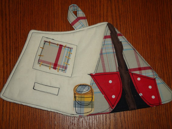 2012 Camping Potholder Series, Ye Old Tent Camper, Made to order
