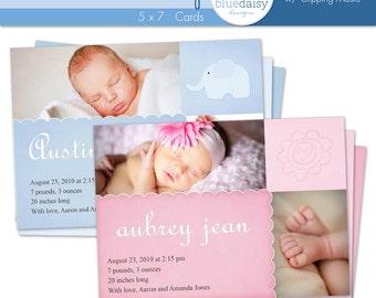 5x7 BIRTH ANNOUNCEMENTS (Aubrey and Austin) - Photographer Template