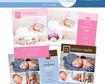 5x7 BIRTH ANNOUNCEMENTS (Madison and Andrew) - Photographer Templates