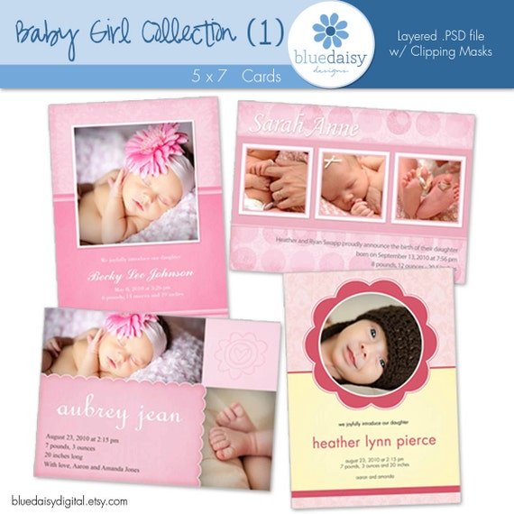 Baby Girl 5x7 BIRTH ANNOUNCEMENT  Collection