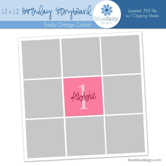 12 x 12 Birthday Storyboard - Photographer Photoshop Template