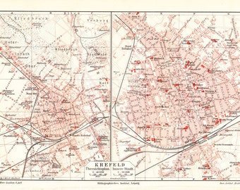 1908 Antique CITY MAP print of KREFELD  also known as Crefeld until 1929, It is located northwest of Düsseldorf,