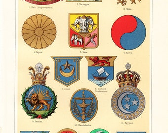 1900s Antique COAT OF ARMS print of of American States, Asian and African, Haiti, Nicaragua, China, Japan, Egypt, Fine old lithograph