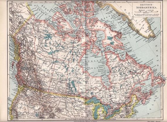 1900 Antique MAP print of  NORTH AMERICA, British North American