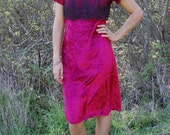 Vintage Crushed Red Velvet Dress with Black Lace Detail Small
