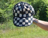 Vintage 80s Sequin Checkered Sparkle Baseball Hat