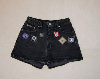 Vintage 90s Black Denim Jeans with Mirrors Patches Patchwork Calvin Klein Black DENIM HIGH WAIST Shorts with Tribal Mirror Detail