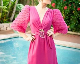 Vintage 60s Pink Puffy Sleeve Crepe Dress