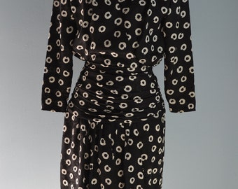 VTG 80s Fashion Black Cream Polka Dot Silk Crossover Dress Lillie Rubin S
