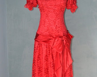 Vtg Romantic Fun Red Lace Prom Gypsy Party Dress S