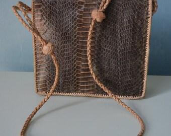 Vintage 70s Handmade Genuine Brown Leather Snakeskin Handbag Cross Body Purse