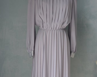 Vintage 70s Sheer Light Grey and Silver PLEATED Cocktail Party Dress Free Shipping