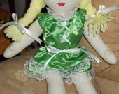 Rag Doll Odette in Green with Lace and Ribbons