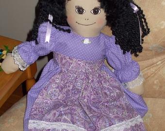 Rag Doll Violet in Lavender Dress and Apron