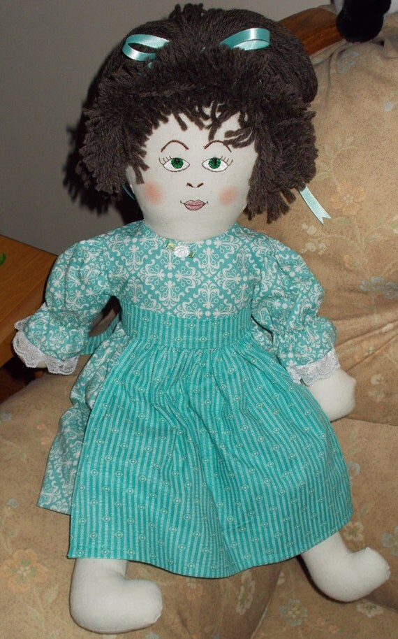 Rag Doll Emily in Teal Blue Dress and Apron
