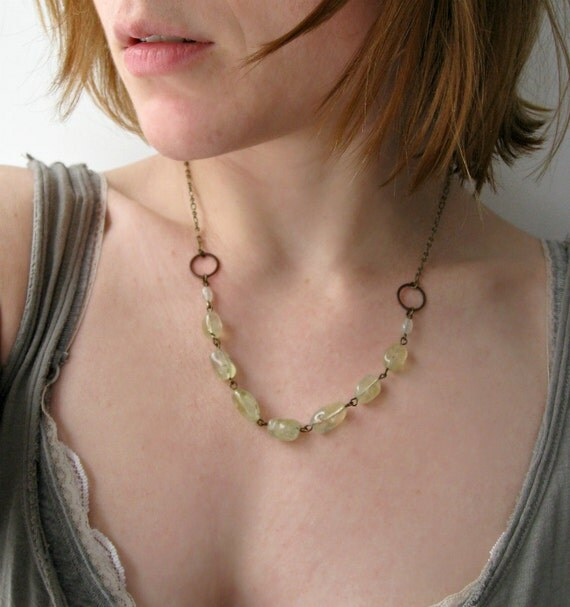 Rustic Prehnite Necklace with smooth celery green prehnite nuggets and antiqued brass