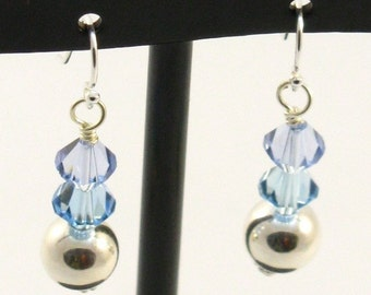 Sterling Silver Earrings with Pale Blue Swarovski Crystals