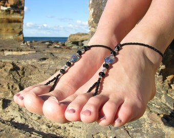 Barefoot Sandals Black with Blue Crystals