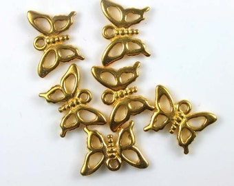 6 Gold TierraCast Butterfly Charms