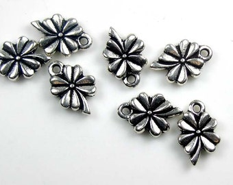 6 Silver TierraCast 4 Leaf Clover Charms
