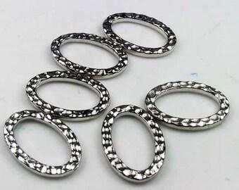 20 Silver Tierracast Oval Hammertone Links