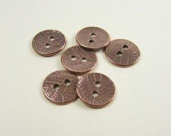 6 Tierracast Antique Copper Leaf Buttons